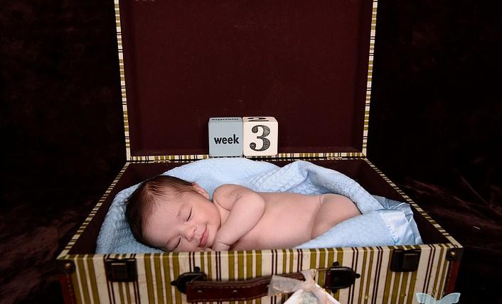 малыш в чемодане