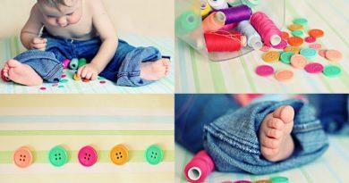 ребенок до года с пуговицами и нитками
